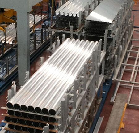 aluminium tubes on stillage